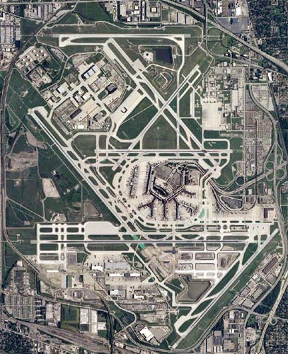 A dizzying satellite image of O'Hare airport, Chicago