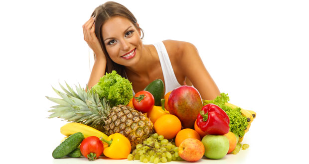 woman with beautiful selection of fruit and vegetables