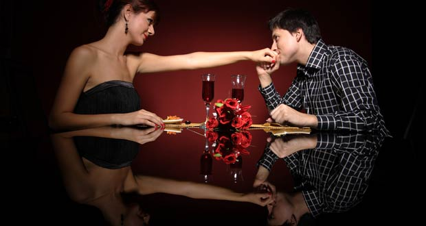 Couple on romantic dinner date