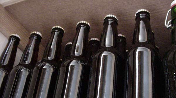 Home brewed beer bottles