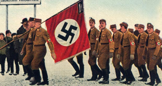 Nazi soldiers marching and swastika flag