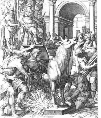 prisoner being thrown into the Bronze Bull