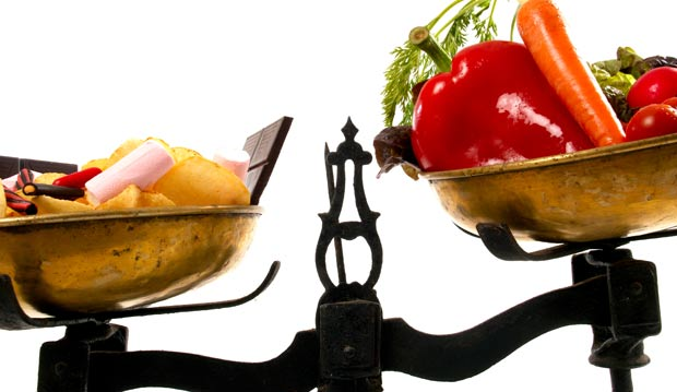 Balanced diet on scales