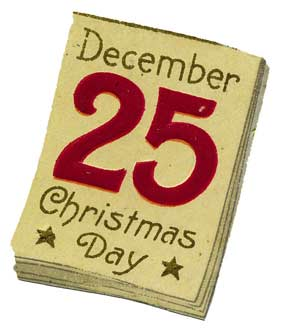 December 25th calender note