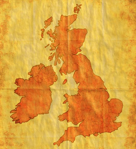 Old style map britain and ireland